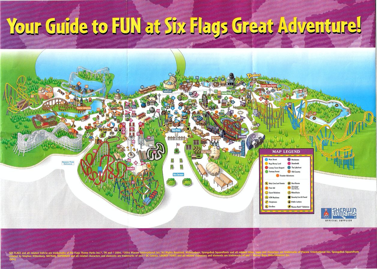 Crapstravaganza week 21 six flags great adventure 1999 2008 the six flags 2004 map gumiabroncs Choice Image