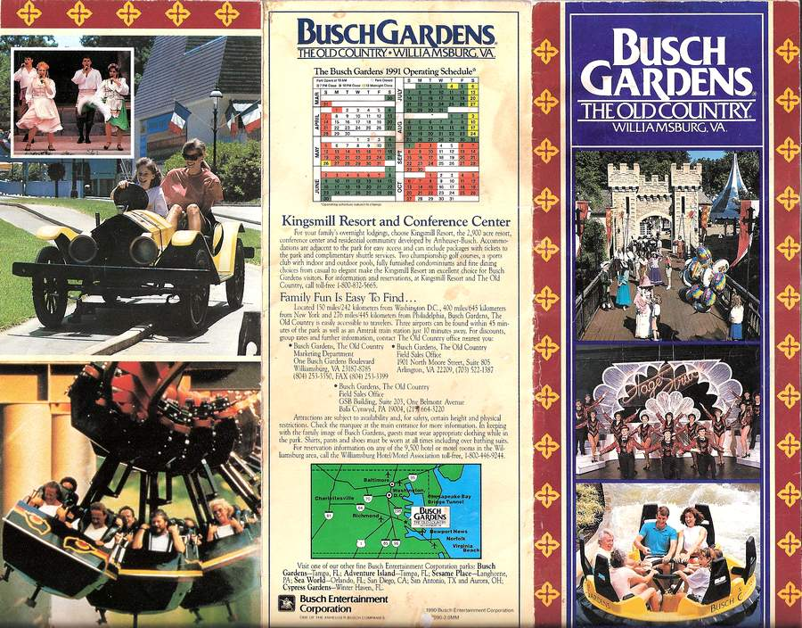 Brochure Busch Gardens The Old Country 1991 The DoD3
