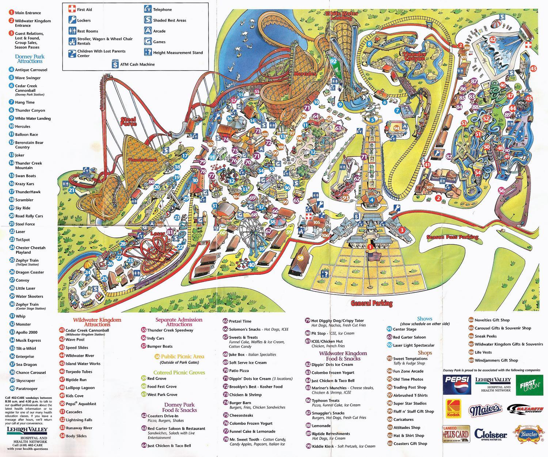 Park Map: Dorney Park 1998 | The DoD3