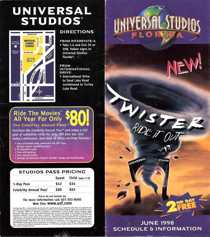 Map Of Universal Studios Florida.Park Map Universal Studios Florida 1998 The Dod3