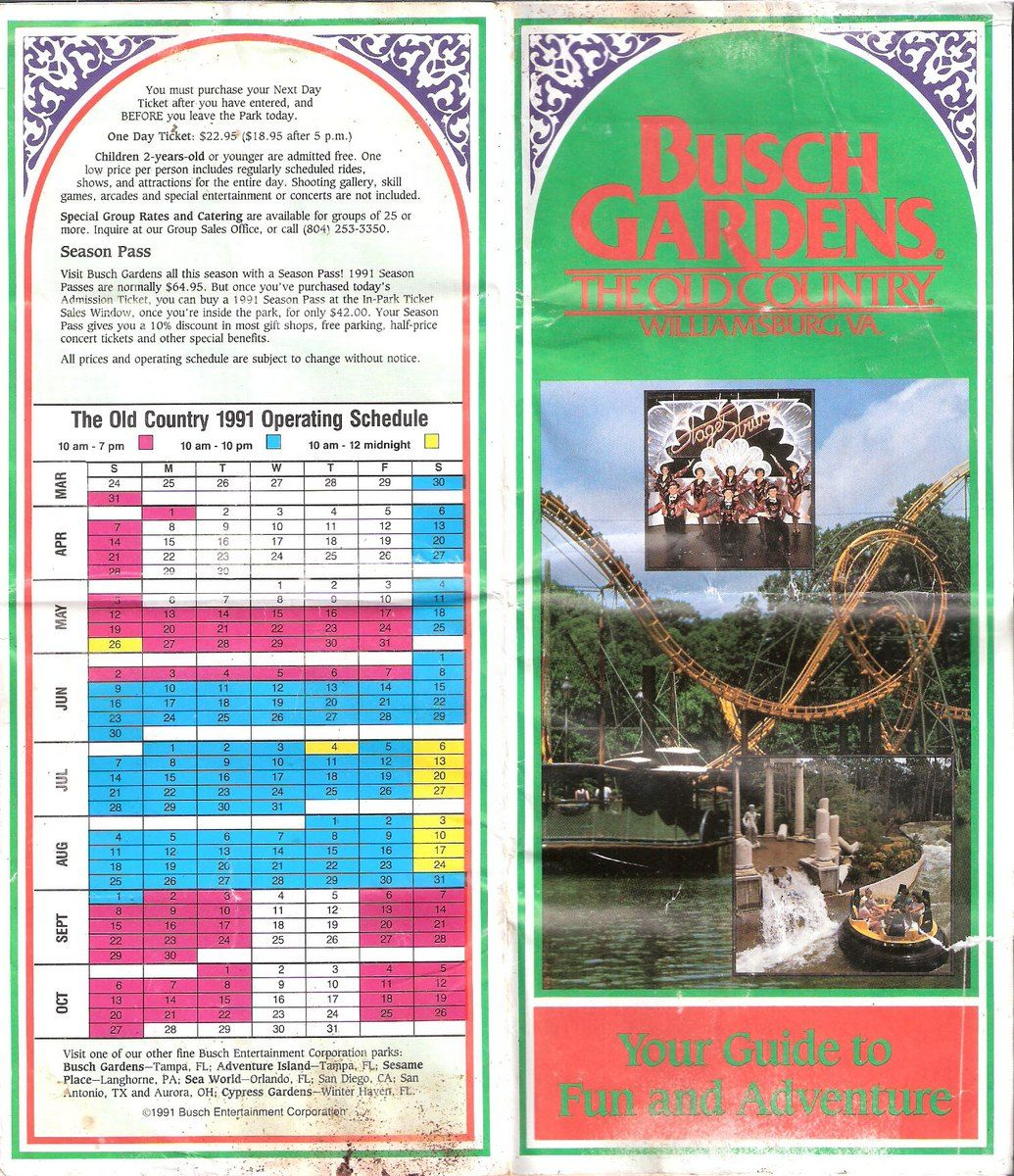 Park Map Busch Gardens The Old Country 1991 The Dod3