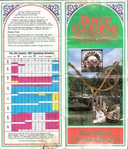 Busch Gardens 1991 Map